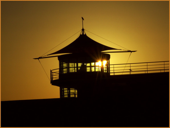 Sunset behind the Yacht compound office, Hornsea, East yorkshire, England. September 2008
