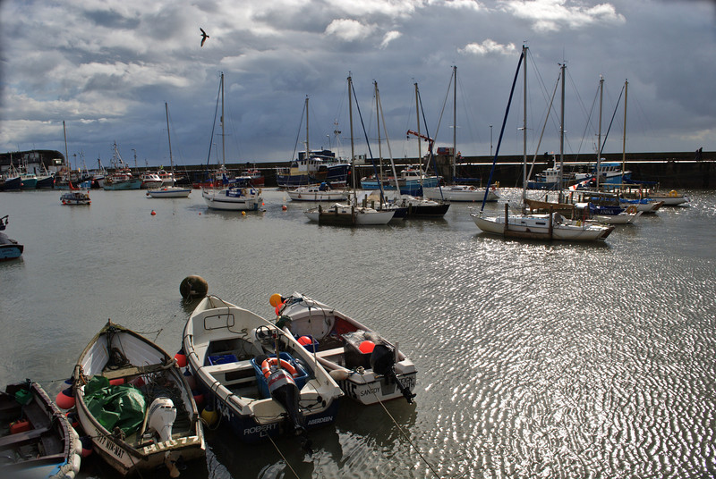 some of the small boats moored in Bridlington Harbour have come a heck of a distance , Aberdeen, Teignmouth... a long way in such small boats on the North Sea!