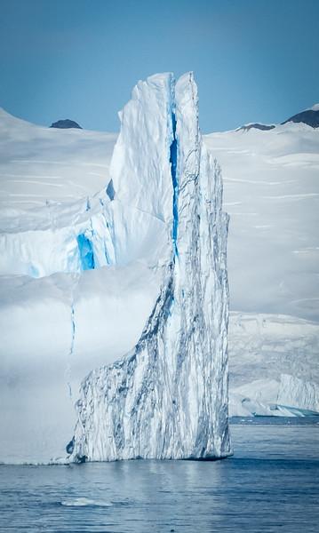 Blue ice in In snow