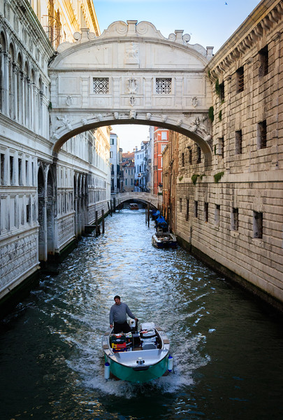 Venice, Motorboat on canal
