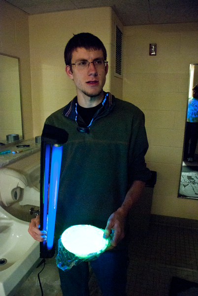 Glenn Skala officially created a bowl of gloop that glows bright beneath a blacklight. Well done, sir.