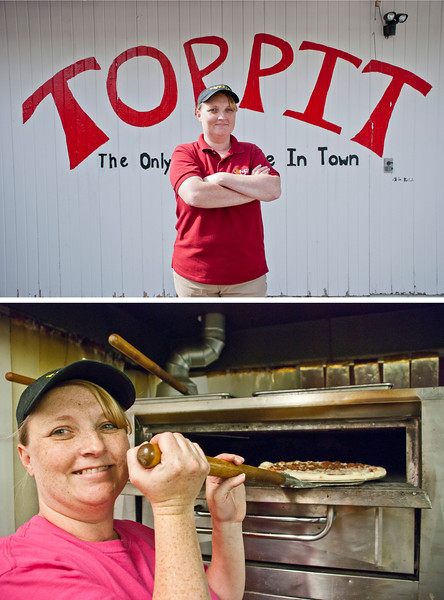 Day 41: Cindi Inman stands proudly infront of T.O.P.P.I.T as the new owner. Cindi started running Upland's premier pizza place in August of this year, actively trying to appeal to the local clientele - including offering delivery and free in-restaurant Wi-Fi.<br /> <br /> *An Environment Portrait Assignment
