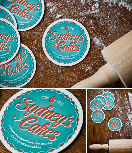 Day 79: Logotype and business cards designed for Sydney Hursey - a fresh, new baker of cakes who created the mind-blowing cupcakes for Dustin's own wedding. Yes, he sprinkled real flower on that tabletop.