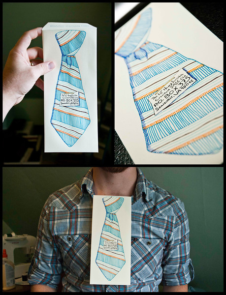 "Day 24: In a celebration of real, tangible mail, a tip of the hat to the good ol' days, Dustin gleefully converts himself into an avid participant of the 2nd Annual Lil' Happy Creature S.A.S.E Club! Primed with functionality, Dustin illustrates a necktie envelope which can deftly be adapted into a wearable necktie, though sadly it is vincible in rain.<br /> <br /> ( <a href=""http://blog.invisiblecreature.com/2nd-annual-lil-happy-ic-s-a-s-e-club/"">http://blog.invisiblecreature.com/2nd-annual-lil-happy-ic-s-a-s-e-club/</a> )"