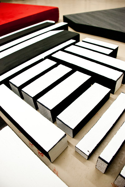 Foam for Dustin's Lissitzky installation is all cut and painted and ready to be hung.