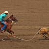 Roping calf at Salinas Rodeo.