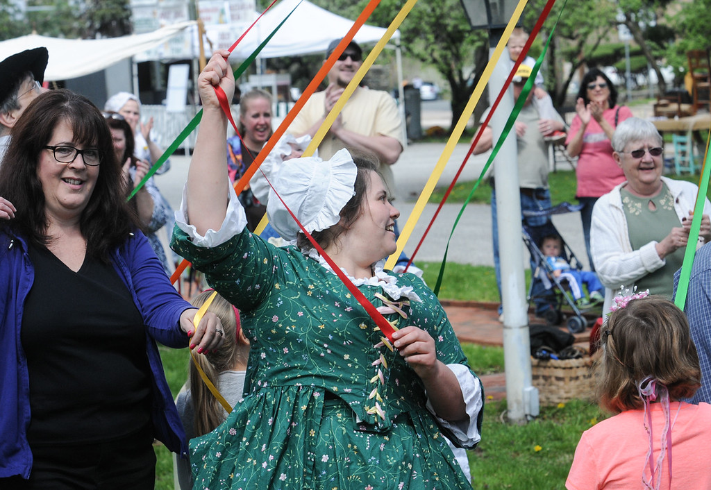. Dancing around the May pole at the Colonial May Fair held at Pottsgrove Manor Saturday. Photo by John Strickler The Mercury