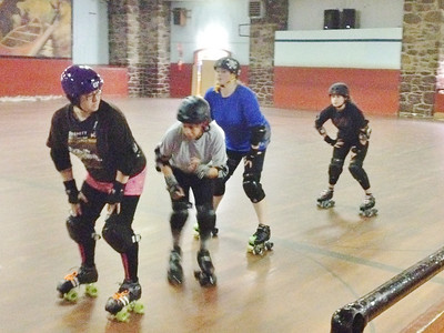 Skaters at the Pottstown Roller Derby's Fresh Meat practice on Sunday, March 9, at Ringing Rocks Roller Rink.