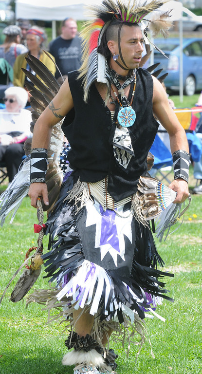 . Jeff Stevens of the Seneca nation dancing in Northern plains style. Photo by John Strickler/The Mercury
