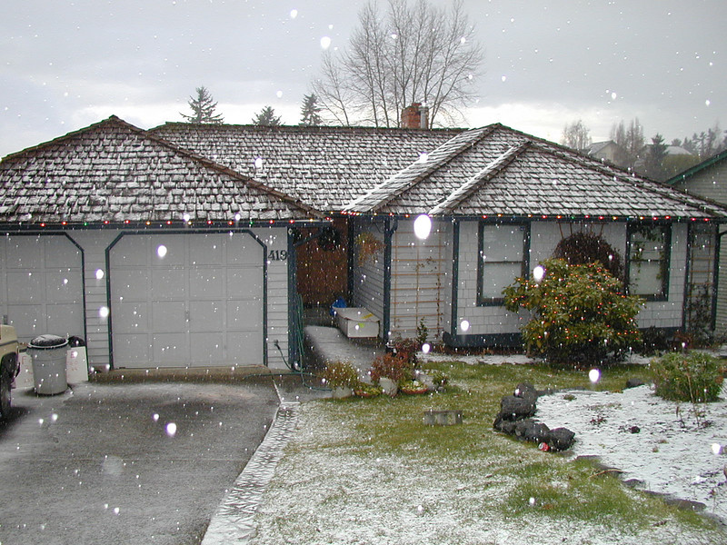 First snow at house in Renton, December 2000