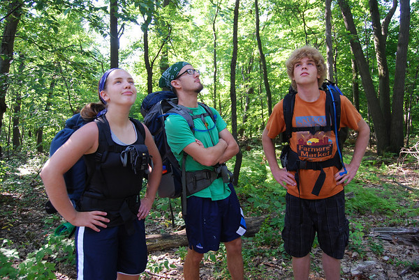 [Photo by Anna Lisa] Lydia, Seth, & Matt Helmuth about to start off on their Appalachian Trail hike, 2010