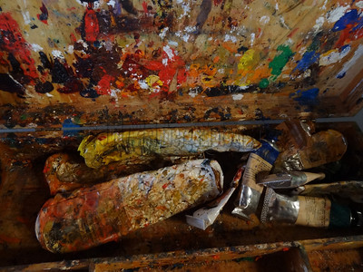 Paint Tubes on Easel