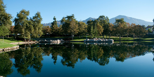 Lake Rancho Santa Margarita with view of Saddleback Mountain