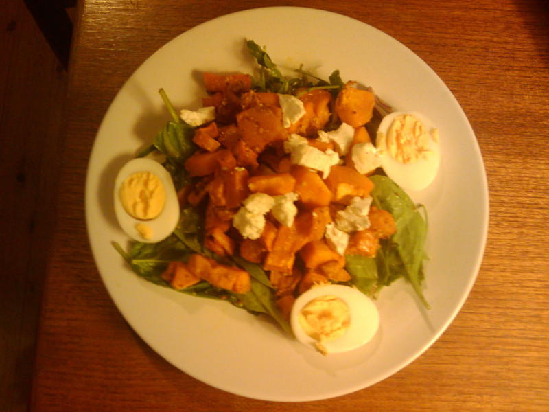 Pumpkin, sweet potato and rocket salad