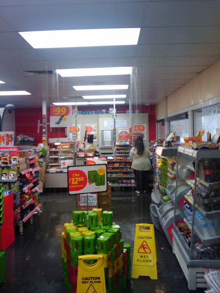 Kariong Shell has a bit of a water problem in this storm
