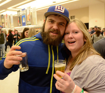 Ed Burke - The Saratogian02/22/14 Oleg Chouliakovski and Melissa Frisbie from Albany during Saturday's Saratoga Beer Summit at the city center.