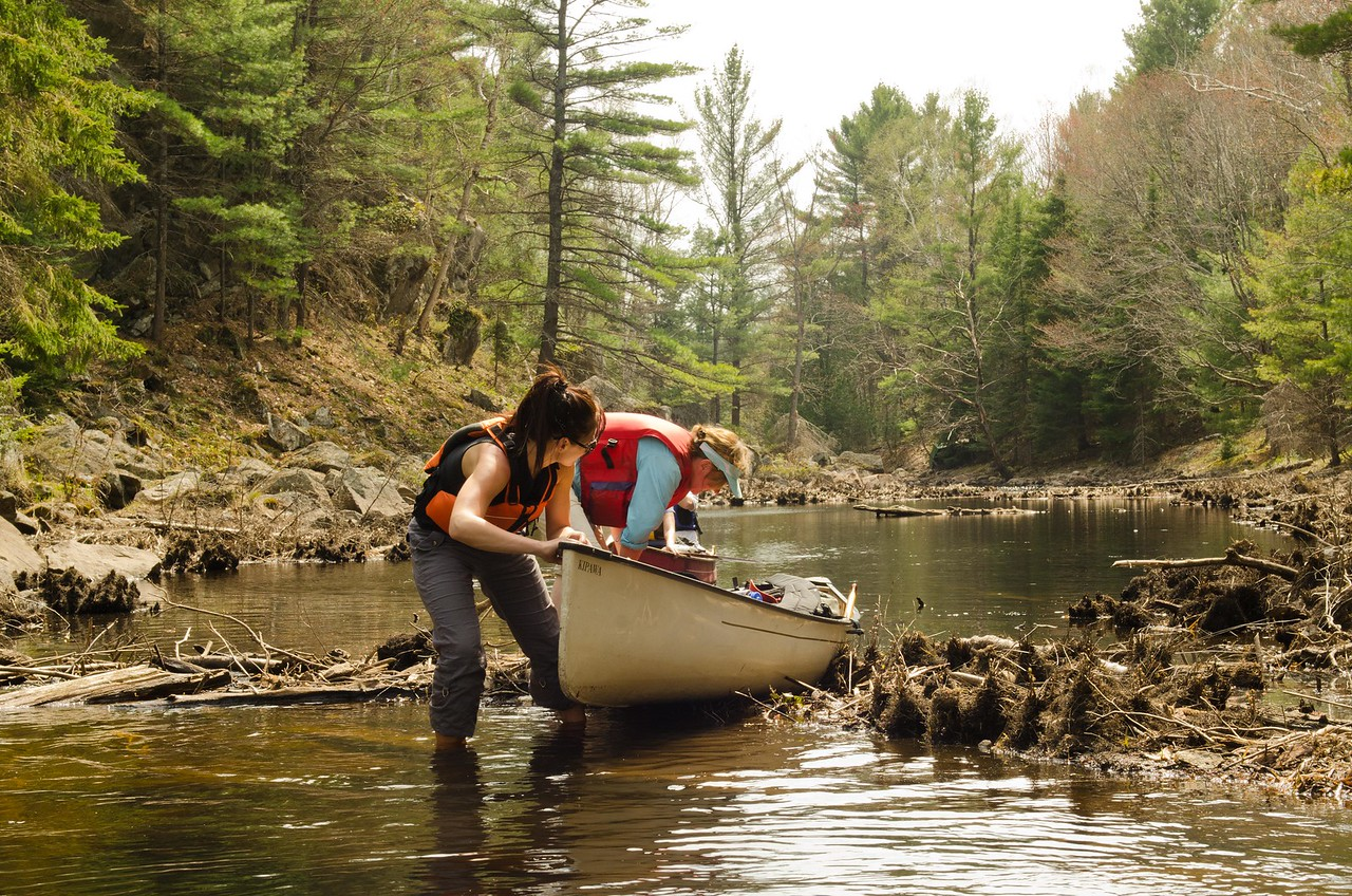 Patty & Melissa-Missy- Michel-Shelley lifting over a beaver dam