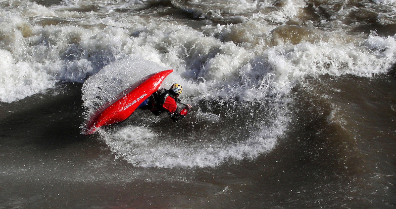 Paddler Mike Leeds. Bladder Wave in Idaho. Photo: Brandon Jones.