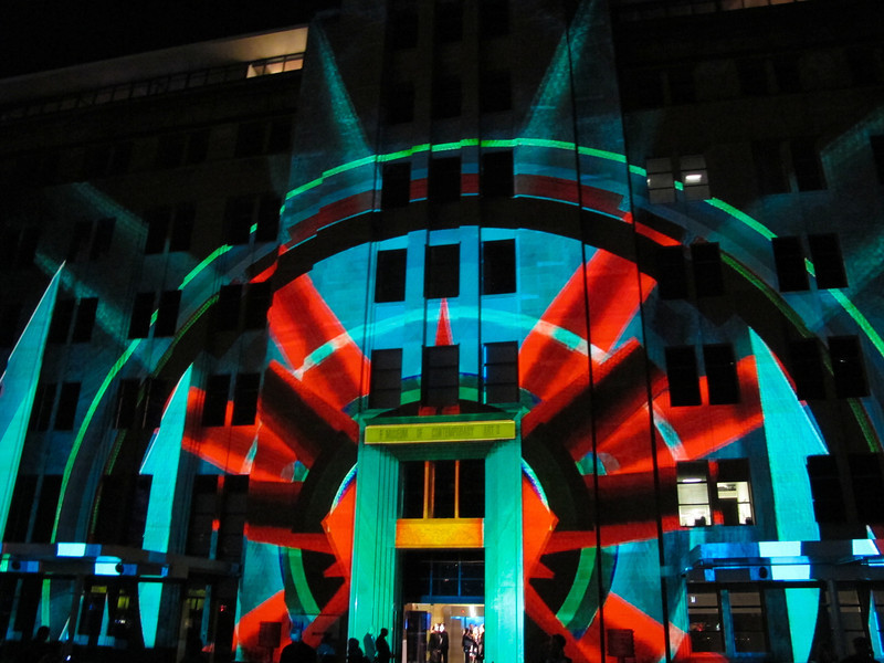 The MCA light projection in all its glory.