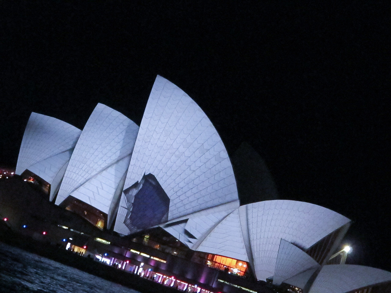 The amazing light projections on the majestic Opera House. Don't be alarmed, the world heritage structure is still in tact.
