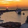 Cruiseship at sunset in venice, San Giorgio Maggiore, Venice, Veneto, Italy; © Joerg Muehlbacher