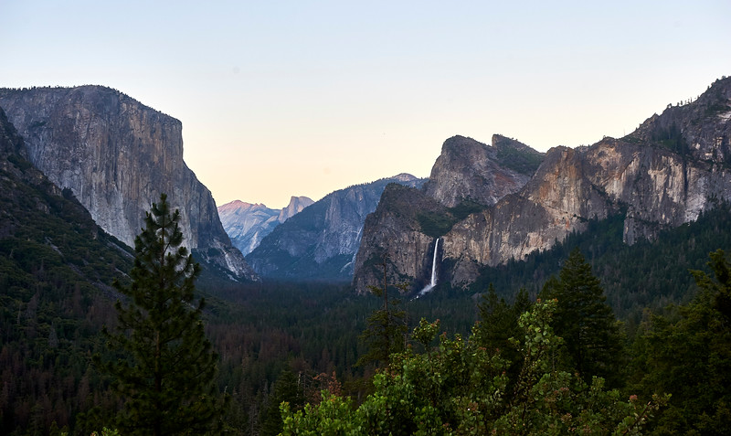 El Capitan, Half Dome, and Bridalveil Fall, as seen from the iconic Tunnel View. Yosemite National Park.
