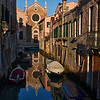 Madonna dell Orto, Reflection of the church Madonna dell Orto in canal, Cannaregio, Venice, Veneto, Italy; © Joerg Muehlbacher