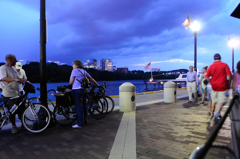 The Potomac boardwalk as a storm rolls into Washington, DC.
