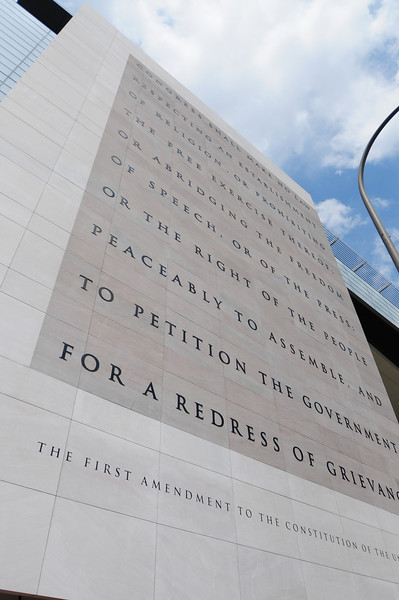The first amendment etched in stone outside The Newseum in Washington, DC.