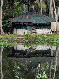 Old hut in Kerala Backwaters