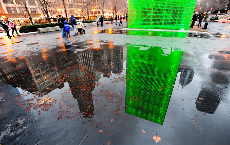 Reflections on Chicago<br /> Millennium Park on a wet December evening.