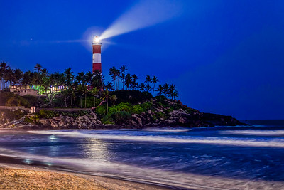 Kovalam Beach by night