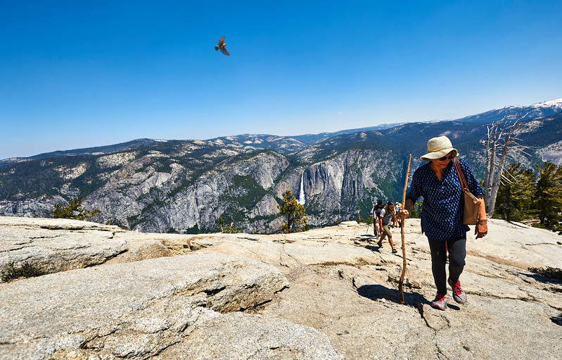 Climbers reach the top of Sentinel Dome in Yosemite National Park.