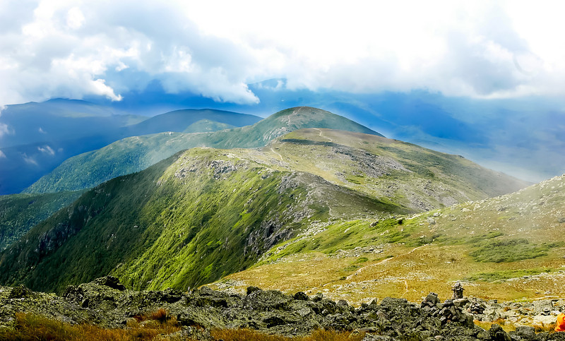 A mountain ridge along the White Mountains of New Hampshire. I captured this photo during a hiking trip through the mountains in August 2009.