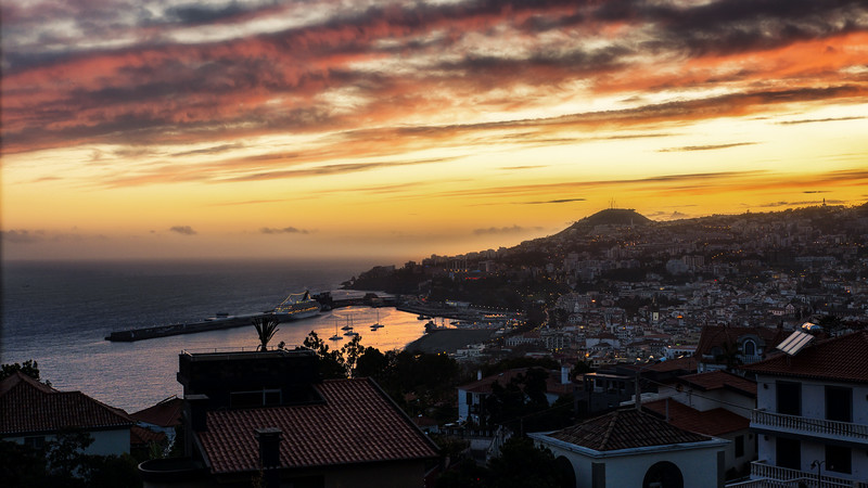 Funchal at dawn, Beautiful sunsets from the appartment above the city - btw it was the ideal spot for cuise ship spotting, Panorama, Funchal, Madeira, Portugal; © Joerg Muehlbacher