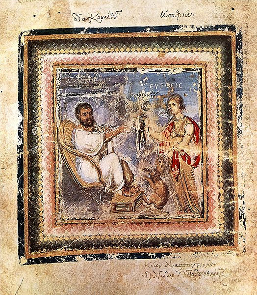 "Pedanius Dioscorides (c.40-90AD)<br /> Image: Seated Dioscorides writing, an illumination from the Vienna Dioscurides<br /> <br /> Greek physician, pharmacologist, and botanist – Dioscorides was the author of a 5-volume encyclopedia, ""De Materia Medica"" (""Regarding Medical Materials"") about herbal medicine and related medicinal substances – a precursor to all modern pharmacopeias. This was widely circulated in Lain, Greek, and Arabic. This work is the premiere historical source of information about the medicines used by the Greeks, Romans and other cultures of antiquity. Its publication was often supplemented with commentary from Arabic and Indian sources.He was a surgeon with the army of emperor Nero."