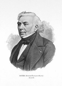 Pierre Rayer (1793-1867)<br /> <br /> French physician who discovered that the fatal equine disease known as glanders was contagious to other species including humans. In 1850, Rayer published a work that provided the first comprehensive description of anthrax.