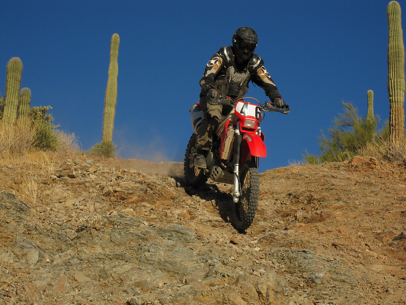 Me going down a rocky hill, Arizona Desert