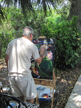 May 24<br /> <br /> Dappled shade under the live oak in the front yard inspires the artist in Joe. It sure is great to have time to pursue the creative side of life. Fun too.