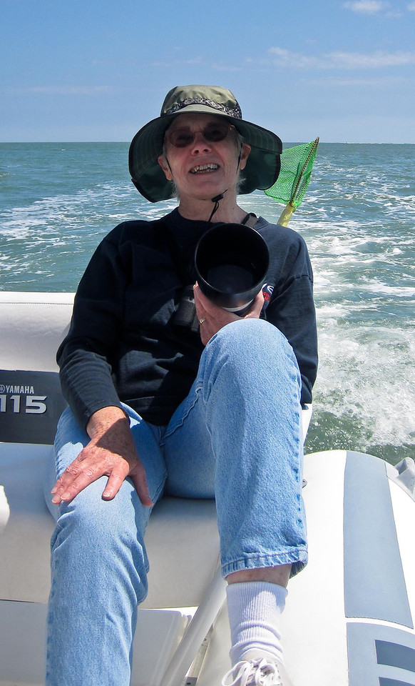 April 8<br /> <br /> One of the perks of being a guide at Eco Tours is complementary trips for family. Mom enjoys a comfortable seat in the back of the boat yesterday.
