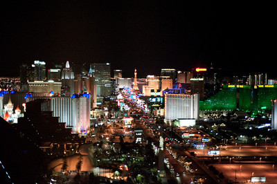 Las Vegas Strip from the Four Seasons - Hand held through the tinted window