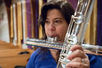 Phyllis plays her contra-bass flute