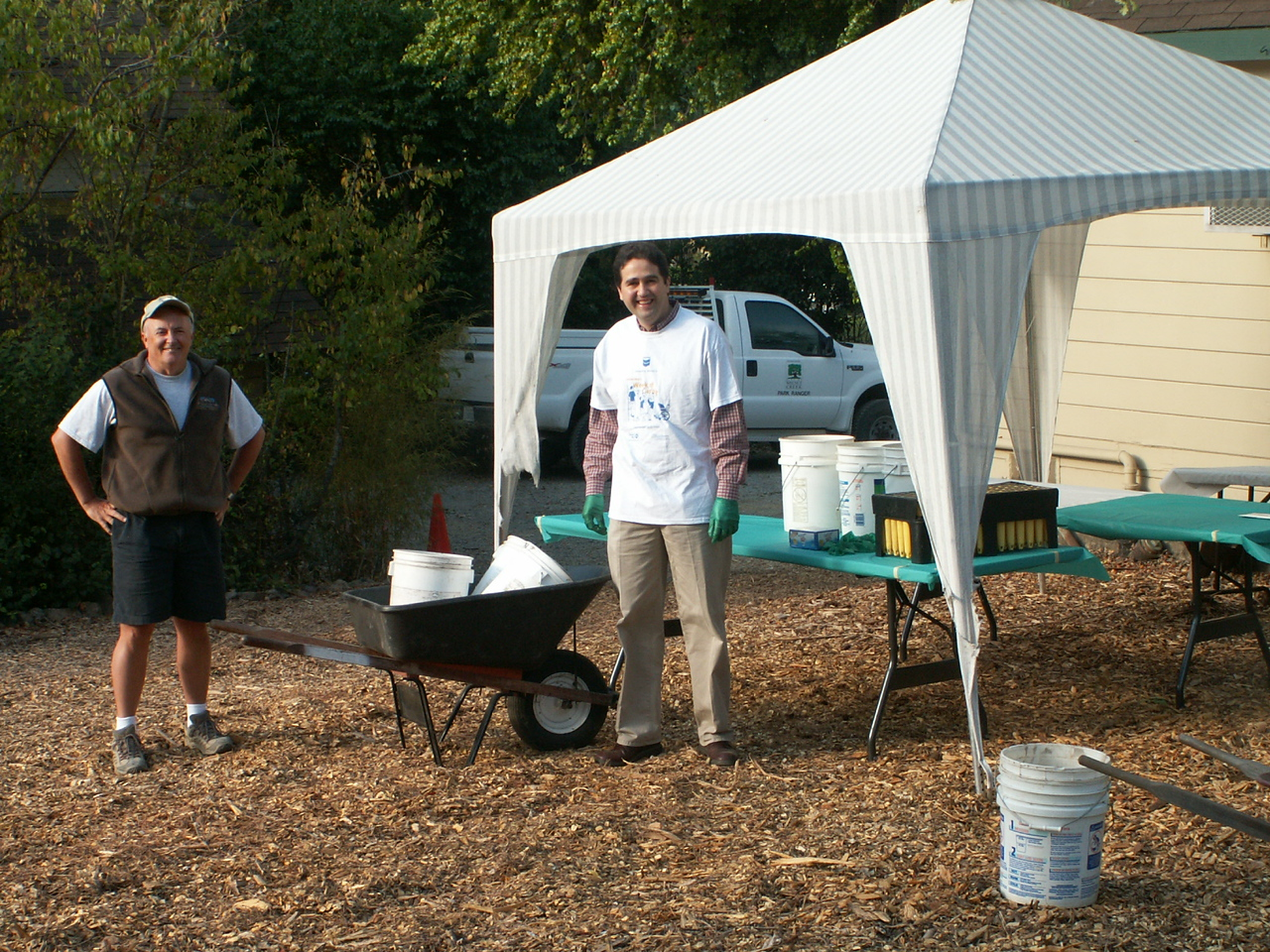 Habitat Restoration - working with Chevron volunteers to propagate seeds during the Week of Caring.