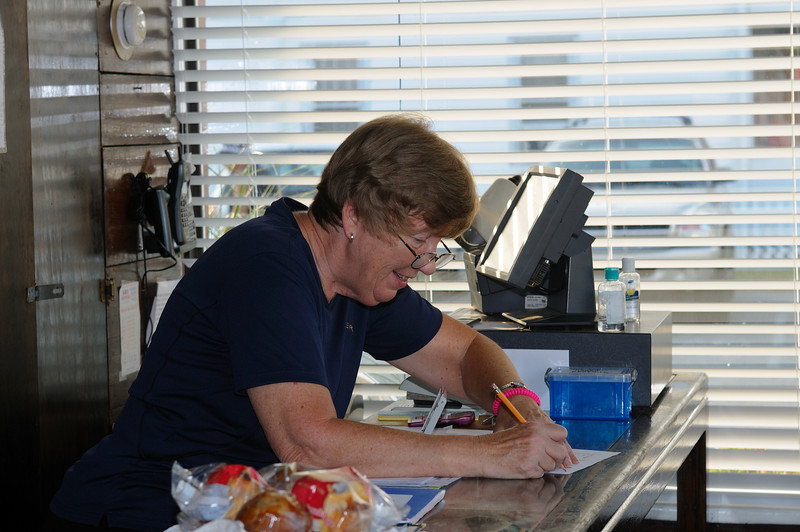 Pat Nottingham, wife of Capt.Darrell, is a retired school teacher and good friend of mine..............her job is to get the cash, and don't interupt her while she's counting! You couldn't meet a nicer lady in all of Ocean City.