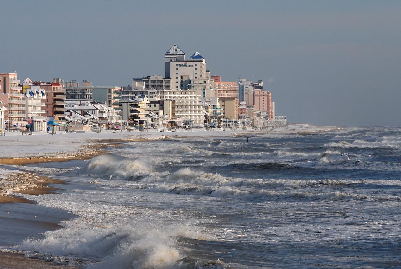 Not often snow meets water in Ocean City!