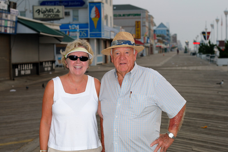 """Fish and Mrs Powell walk the boardwalk every morning, since he is retired this is his only """"work""""...lol! Always good to see the Mayor."""