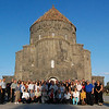 Pilgrims pose for a group photo in front of the Holy Apostles Church in Kars.
