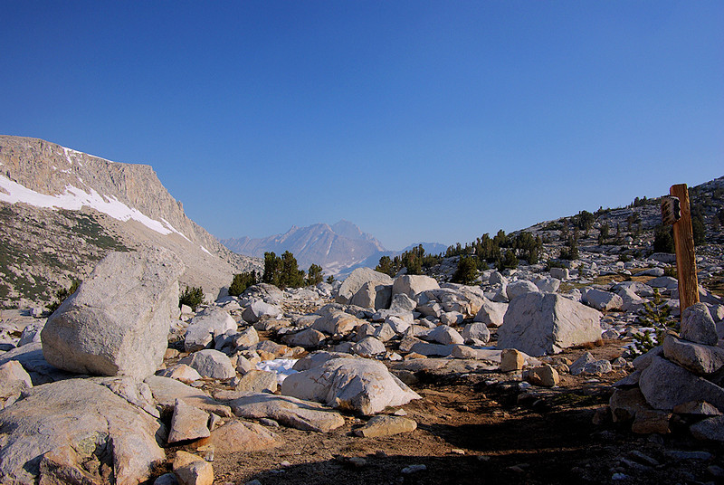 The trail finally tops-out at Pine Creek Pass at 11,100 feet. The view north extends to Mt Morgan, and south...