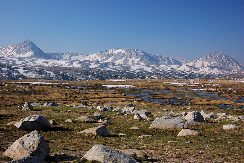 Tarns, snowfields, a rocky alpine meadow --- the essence of scenic High Sierra splendor.