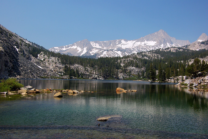 ...the alpine splendor of Pine Lake, with Royce and Feather Peaks looming in the background.